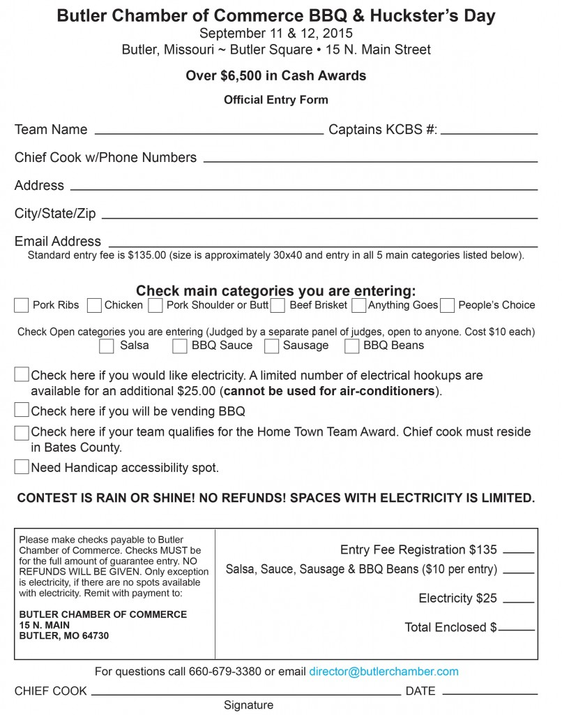 2015 Contestant Entry Form